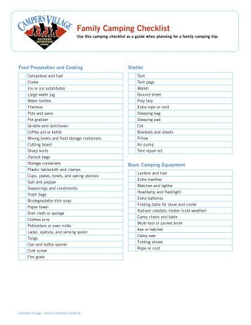 CAMPING PACKING CHECKLIST The Essentials Tent