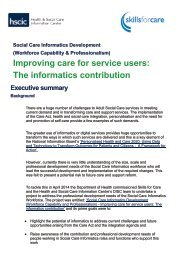 Improving care for service users The informatics contribution