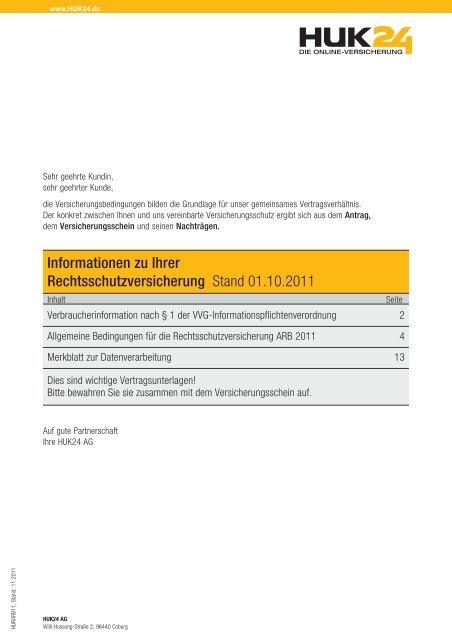 Informationen Zu Ihrer Rechtsschutzversicherung Stand Huk24