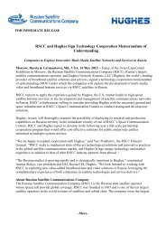 RSCC and Hughes Sign Technology Cooperation Memorandum of
