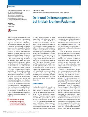 Delir und Delirmanagement