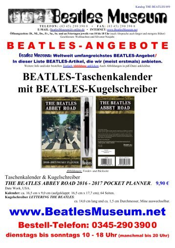 Beatles Museum - Katalog 59 mit Hyperlinks