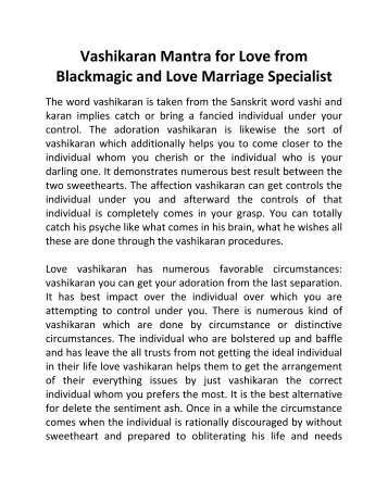Vashikaran Mantra for Love from Blackmagic and Love Marriage Specialist