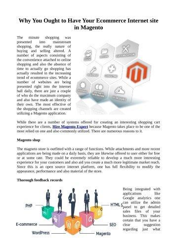 Why You Ought to Have Your Ecommerce Internet site in Magento