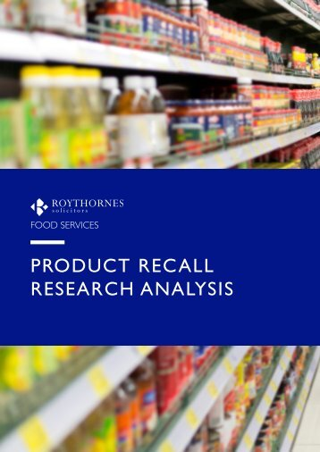 PRODUCT RECALL RESEARCH ANALYSIS