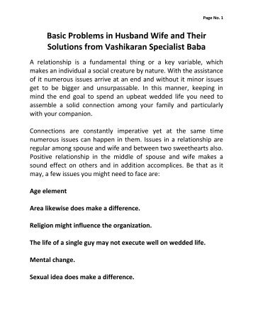 Basic Problems in Husband Wife and Their Solutions from Vashikaran Specialist Baba