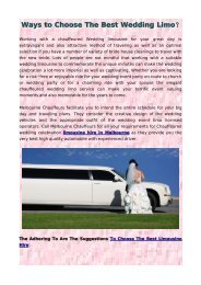 Ways to Choose The Best Wedding Limo?