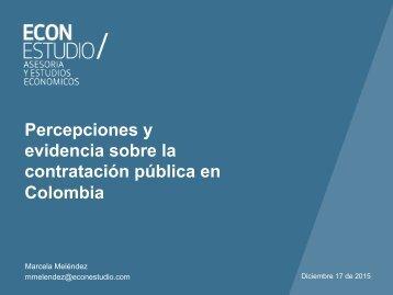 Percepciones y evidencia sobre la contratación pública en Colombia