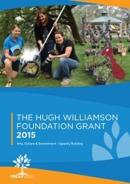 THE HUGH WILLIAMSON FOUNDATION GRANT 2015