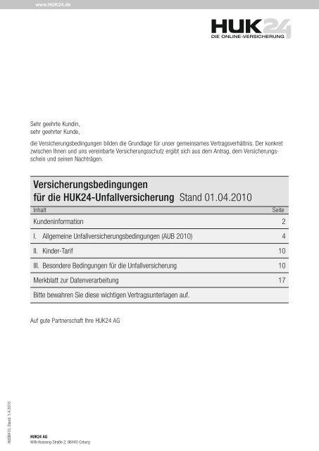 Versicherungsbedingungen Fur Die Huk24 Unfallversicherung