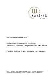 111 Jahre Zweifel Weine - Zweifel & Co. AG