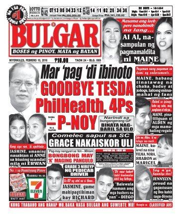 February 10, 2016 BULGAR: BOSES NG PINOY, MATA NG BAYAN