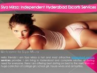 The Escorts in Hyderabad to Give Wonderful Pleasure of Dating