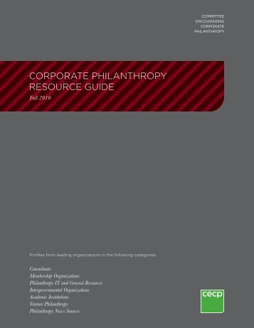 corporate philanthropy resource guide - Committee Encouraging ...