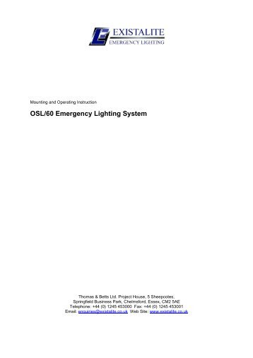OSL/60 Emergency Lighting System - Existalite Ltd