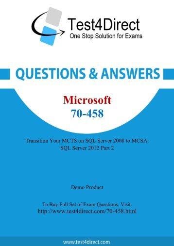 Real 70-458 Exam BrainDumps for Free