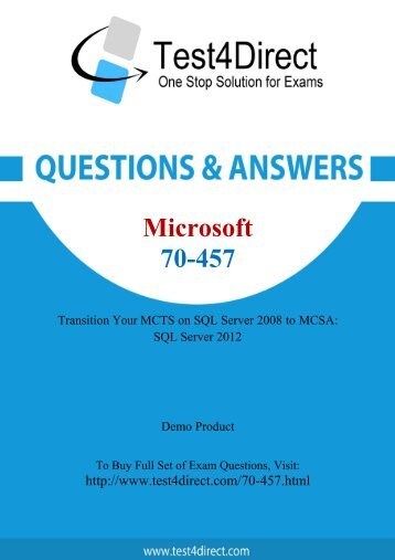 Up-to-Date 70-457 Exam BrainDumps for Guaranteed Success