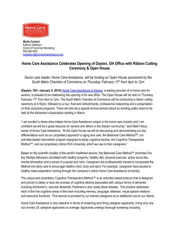 Home Care Assistance Celebrates Opening of Dayton, OH Office with Ribbon Cutting Ceremony & Open House