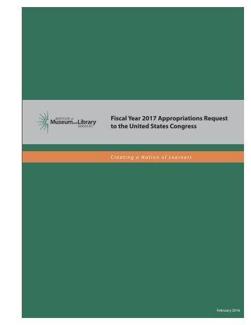Fiscal Year 2017 Appropriations Request to the United States Congress