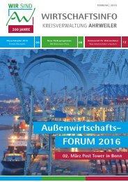 AW Wirtschaftsinfo Februar 2016 - Außenwirtschafts-FORUM 2016