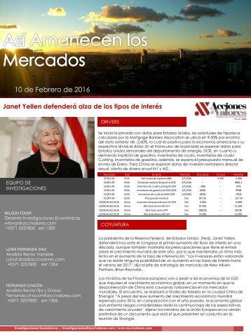 10 de Febrero de 2016 Janet Yellen defenderá alza de los tipos de interés