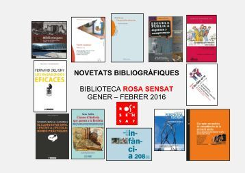 NOVETATS BIBLIOGRÀFIQUES ROSA SENSAT GENER 2016-1