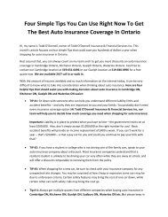 Four Simple Tips You Can Use Right Now To Get The Best Auto Insurance Coverage In Ontario