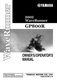 Yamaha GP800R - 2002 - Mode d'emploi English