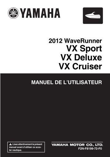 Yamaha VX Sport - 2012 - Mode d'emploi Français