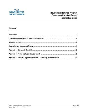 Nova Scotia Nominee Program Community Identified Stream ...