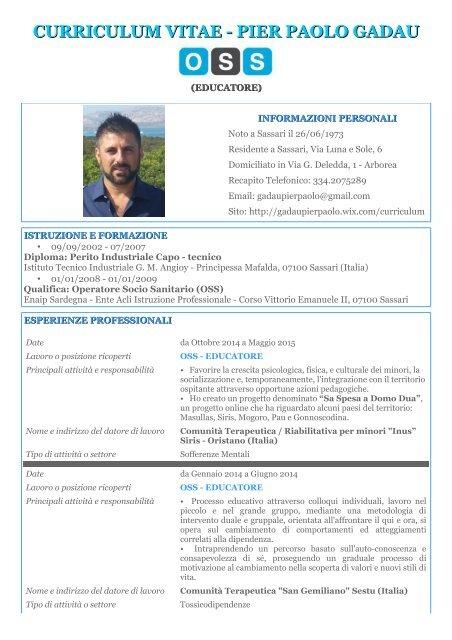cv oss CV Oss Educatore Pier Paolo Gadau