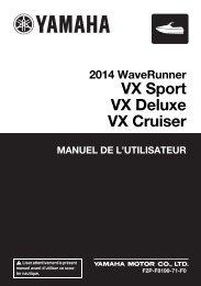 Yamaha VX Sport - 2014 - Mode d'emploi Français
