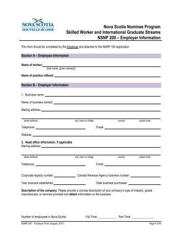 Employer Information - Nova Scotia Immigration