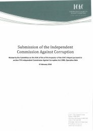 Submission of the Independent Commission Against Corruption
