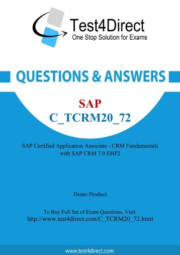 C_TCRM20_72 Real Exam BrainDumps Updated 2016