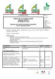 appui technique légume 2011-2012 - Bio Centre