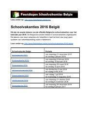 Schoolvakanties 2016 Belgie - Exacte datums op kalender