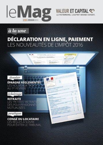 déclaration EN LIGNE PAIEMENT les nouveautés DE L'IMPÔT 2016