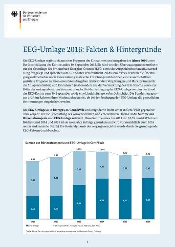 EEG Umlage 2016 - Fakten und Hintergruende