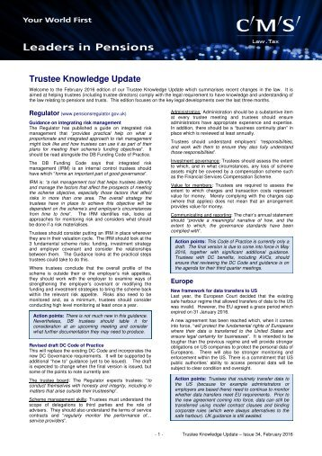Trustee Knowledge Update