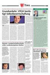 Grundverkehr: VfGH bestä- tigt Selbstbewirtschaftung - Tiroler ...