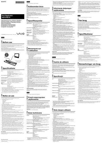 Sony VGP-PRZ10 - VGP-PRZ10 Mode d'emploi Ukrainien
