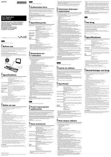 Sony VGP-PRZ10 - VGP-PRZ10 Mode d'emploi Slovaque