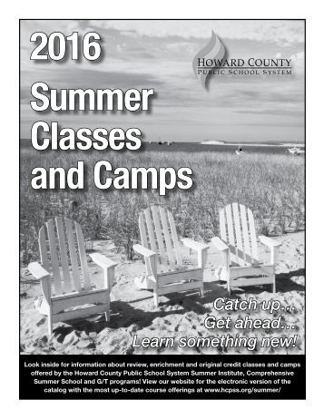 2016 Summer Classes and Camps