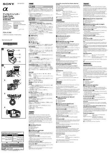 Sony FDA-A1AM - FDA-A1AM Consignes d'utilisation Anglais