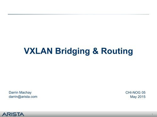 VXLAN Bridging & Routing