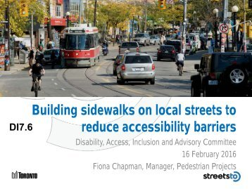 Building sidewalks on local streets to reduce accessibility barriers