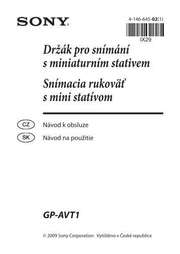 Sony GP-AVT1 - GP-AVT1 Consignes d'utilisation Tchèque