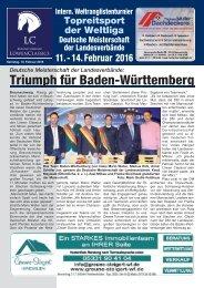 Turnierzeitung Löwen Classics, Samstag 13.02.2016