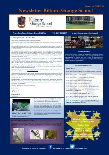 Newsletter Kilburn Grange School